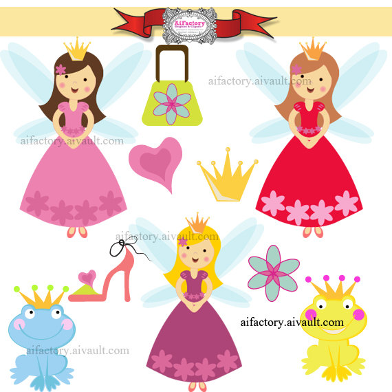 Fairy Princess And The Frog Clipart  Digital Clipart Png