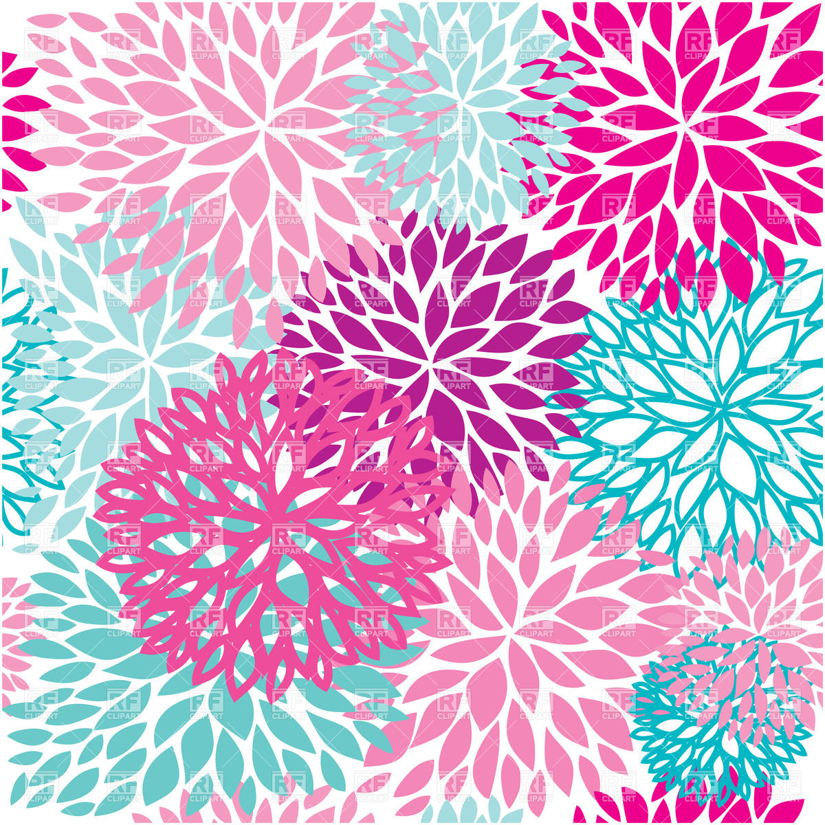 Floral Particoloured Seamless Pattern 22973 Backgrounds Textures