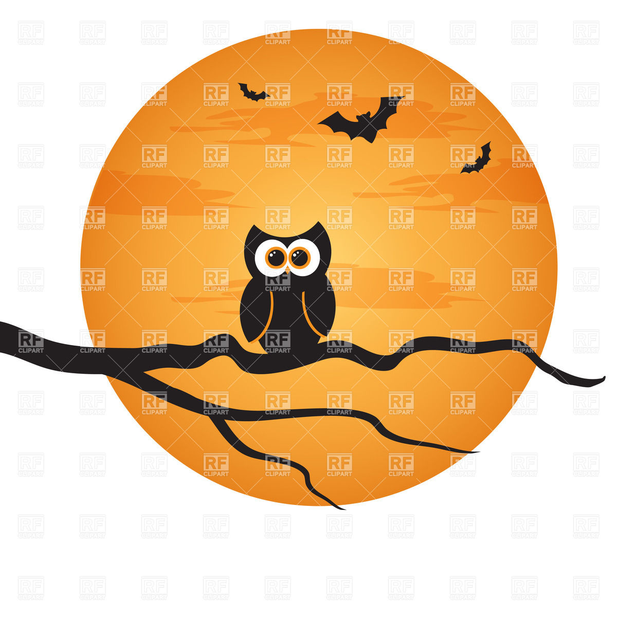 Halloween Background   Owl On Branch And Moon 23500 Download Royalty