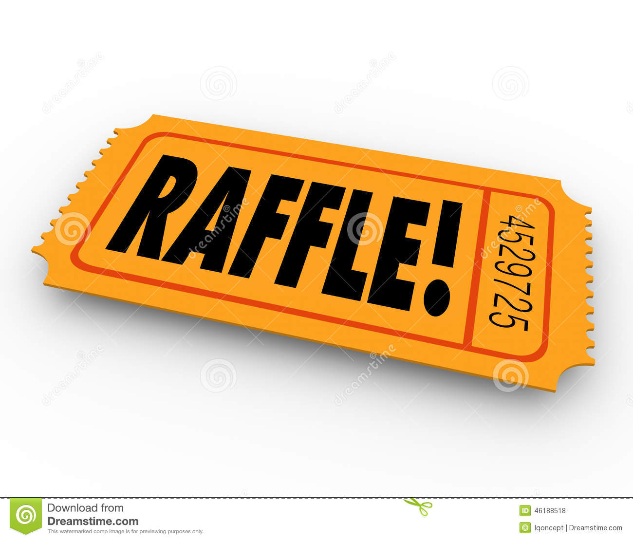 Raffle Word On Orange Ticket For You To Enter To Win A Drawing For A