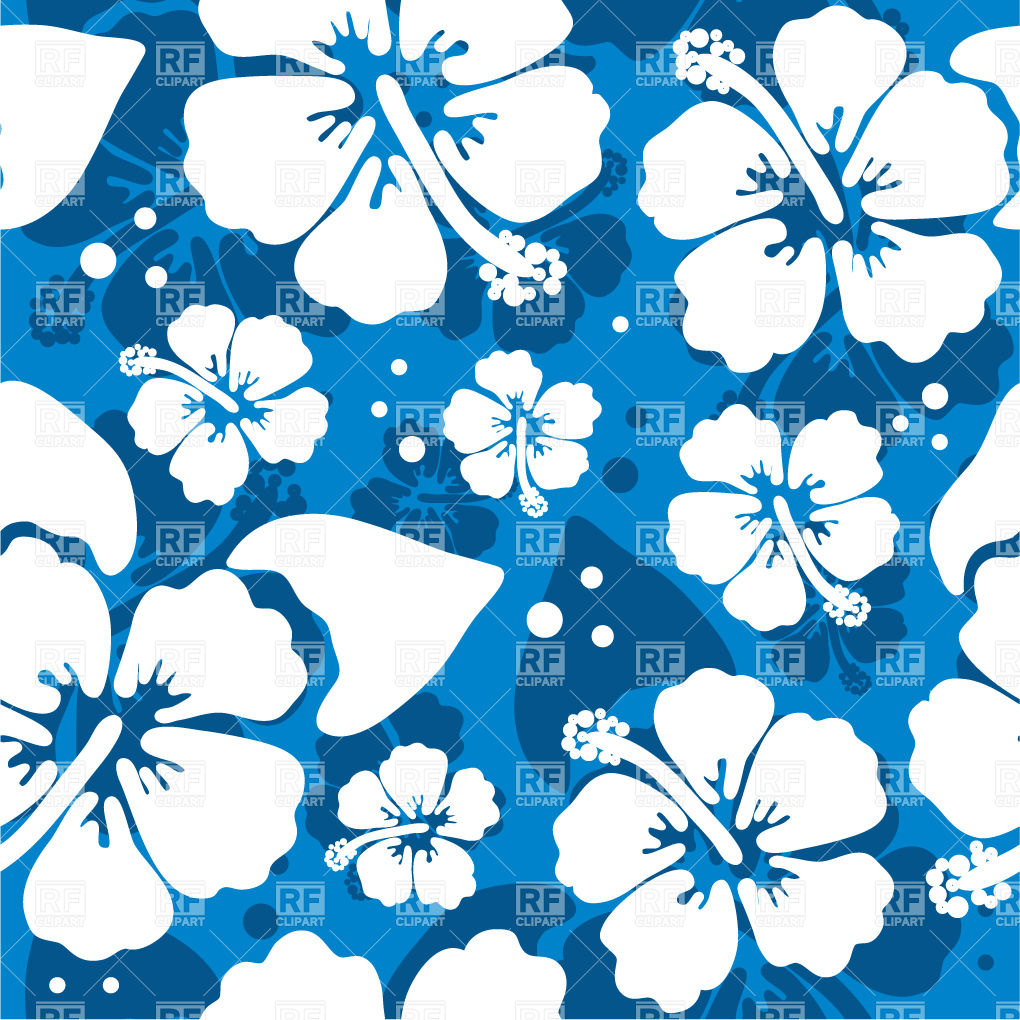 Seamless Blue Pattern With Hawaiian Hibiscus Flower 21110 Download