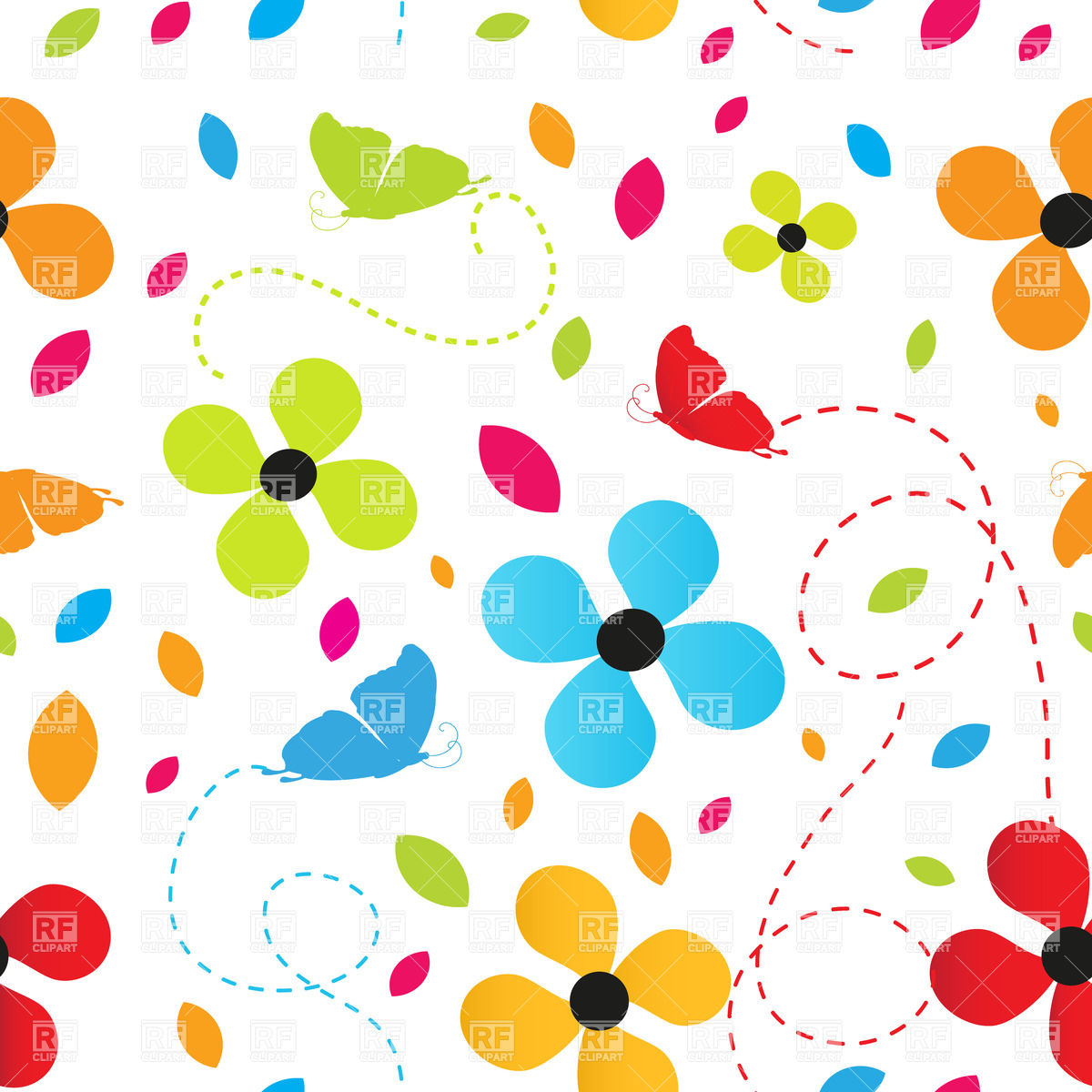 Seamless Pattern Made Of Cartoon Flowers And Butterflies Download