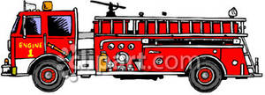 Side View Of A Red Firetruck   Royalty Free Clipart Picture