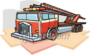 Strong Red Fire Truck Royalty Free Clipart Picture
