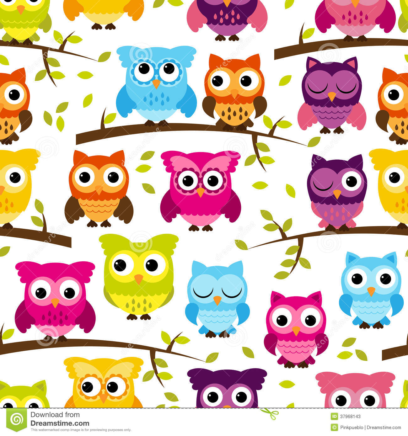 Vector Incons Til Y De Tileable Owl Background Pattern Con Las Hojas