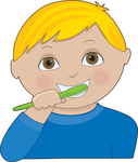 With Brown Eyes Brushing His Teeth With A Green Brush By Maria Bell