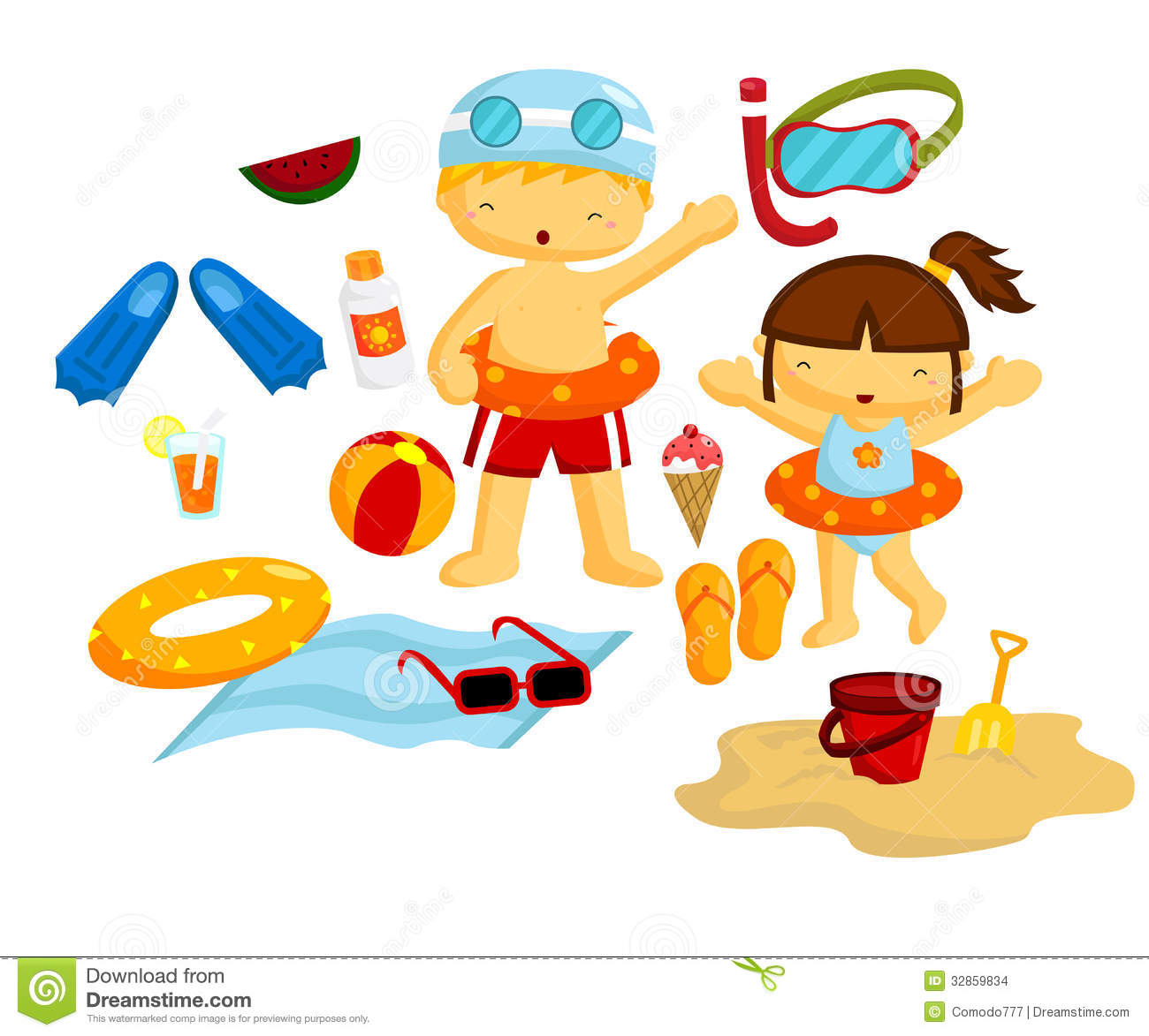 Beach Vector Set Stock Images   Image  32859834