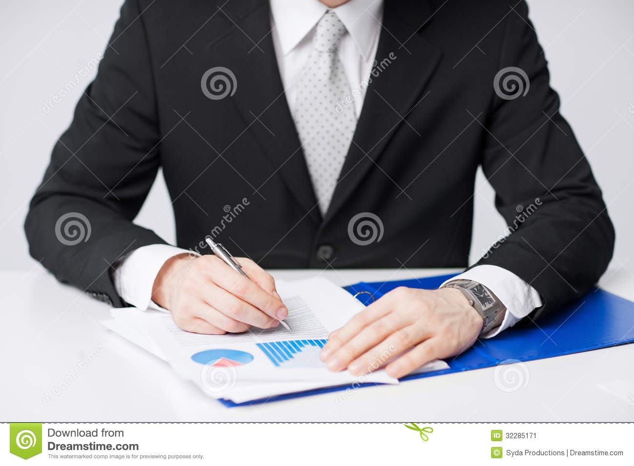 Businessman Working And Signing Papers Stock Image   Image  32285171