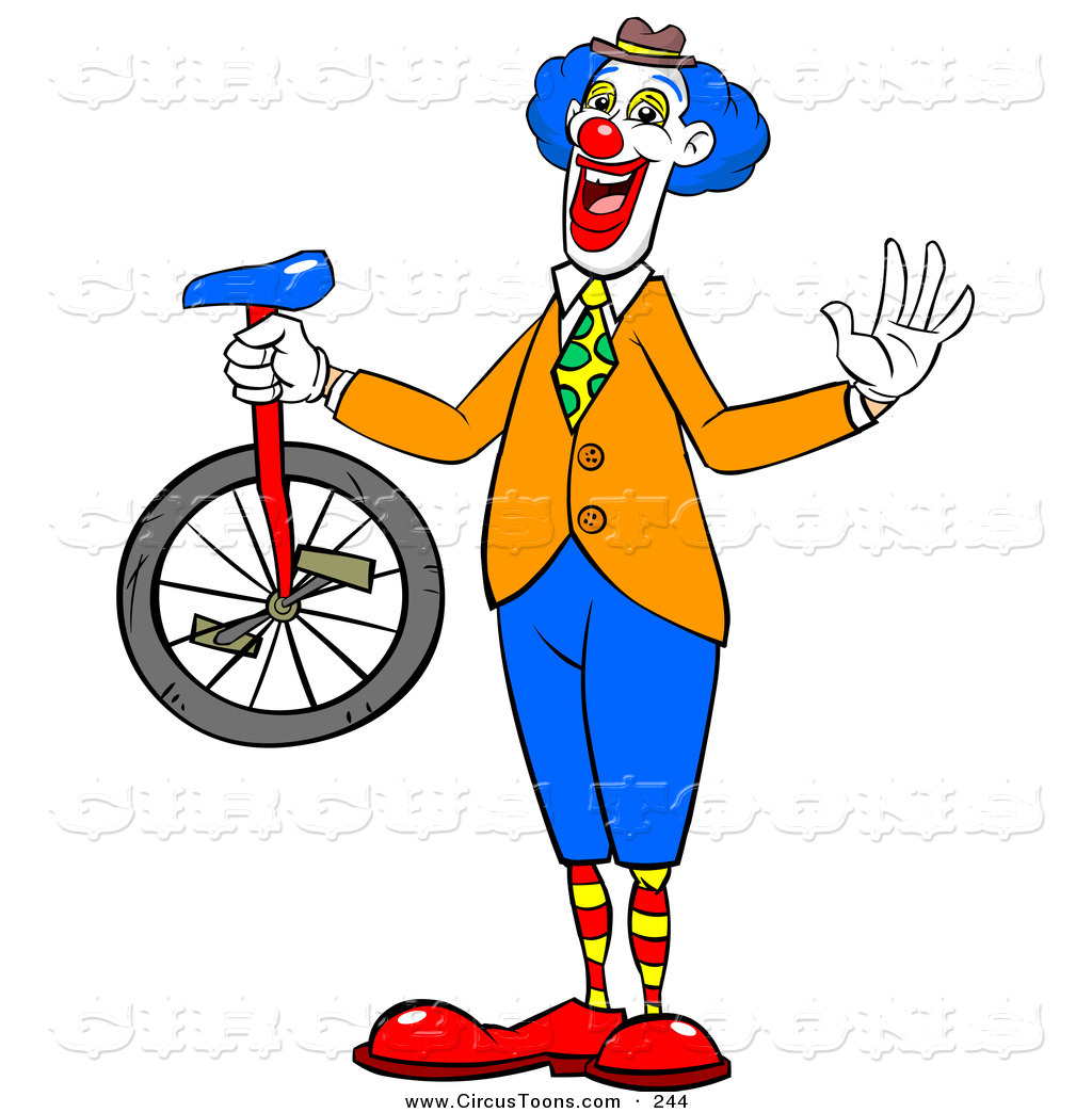 Circus Clipart Of A Happy Entertainer Clown Holding A Unicycle And