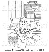 Clip Art Of A Friendly Businessman Signing Papers By Alex Bannykh