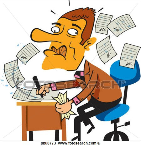 Drawing Of A Man Frantically Signing Papers Pbu0773   Search Clipart