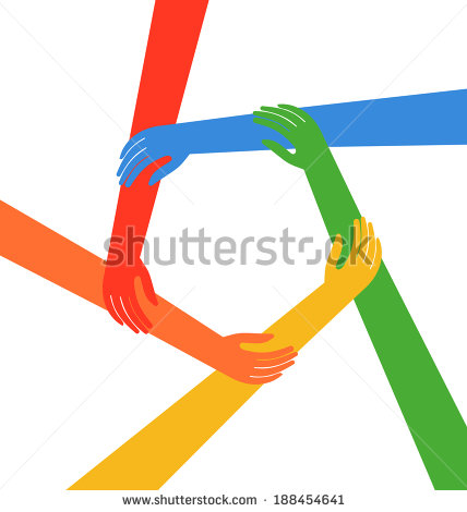 Hands Holding Arms In Circle  Friendship Concept   Stock Photo