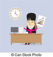 Happy Woman Office Manager  Vector Vector Clipart