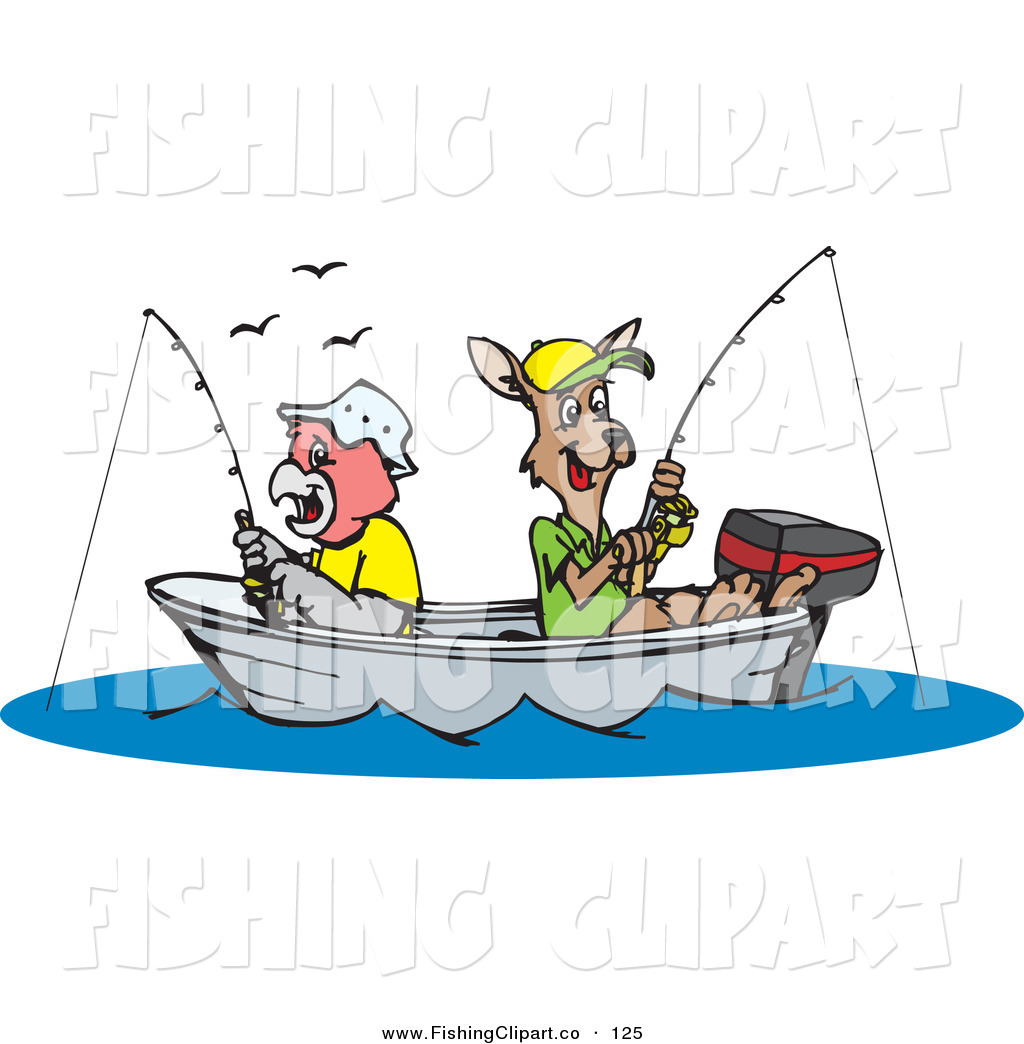 Kangaroo Fishing In A Boat On A Lake By Dennis Holmes Designs    125