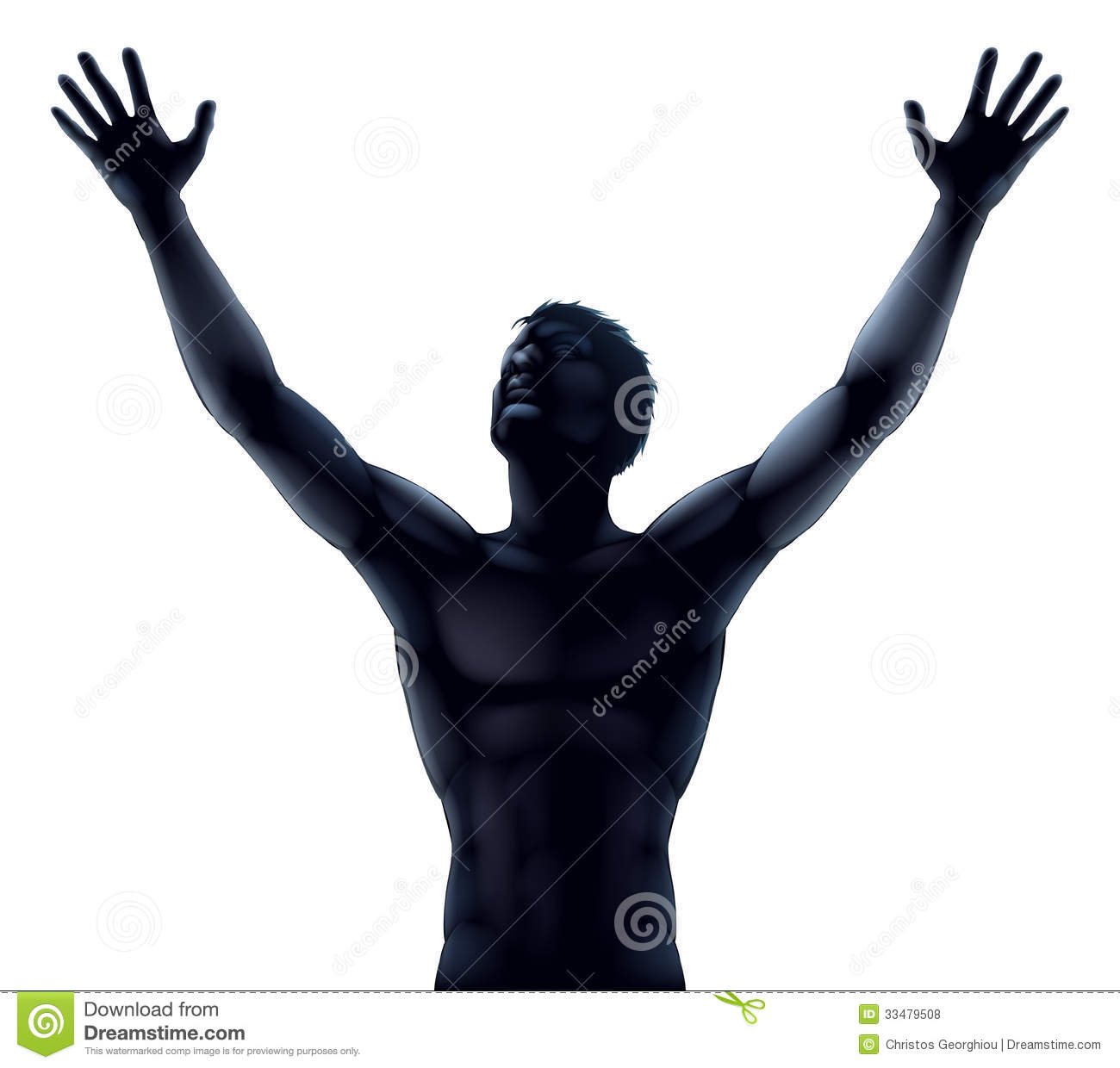 Man Silhouette Hands Raised Royalty Free Stock Photos   Image