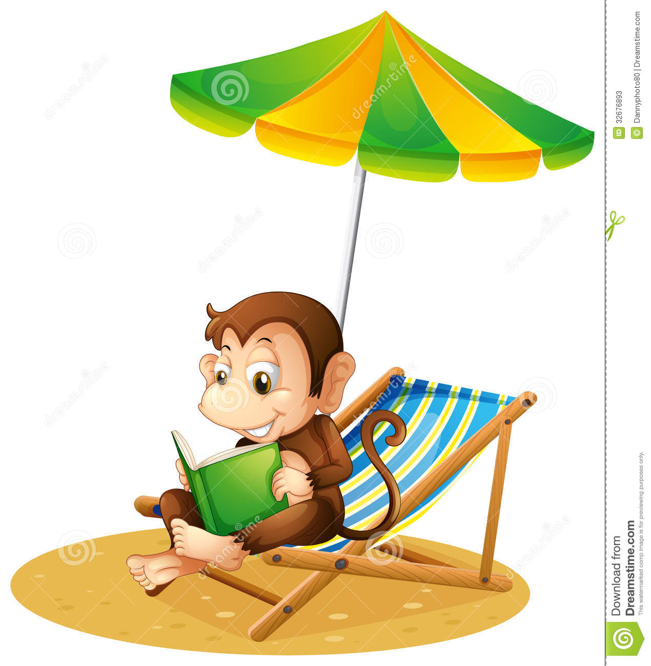 Monkey Reading A Book At The Beach Stock Photos   Image  32676893