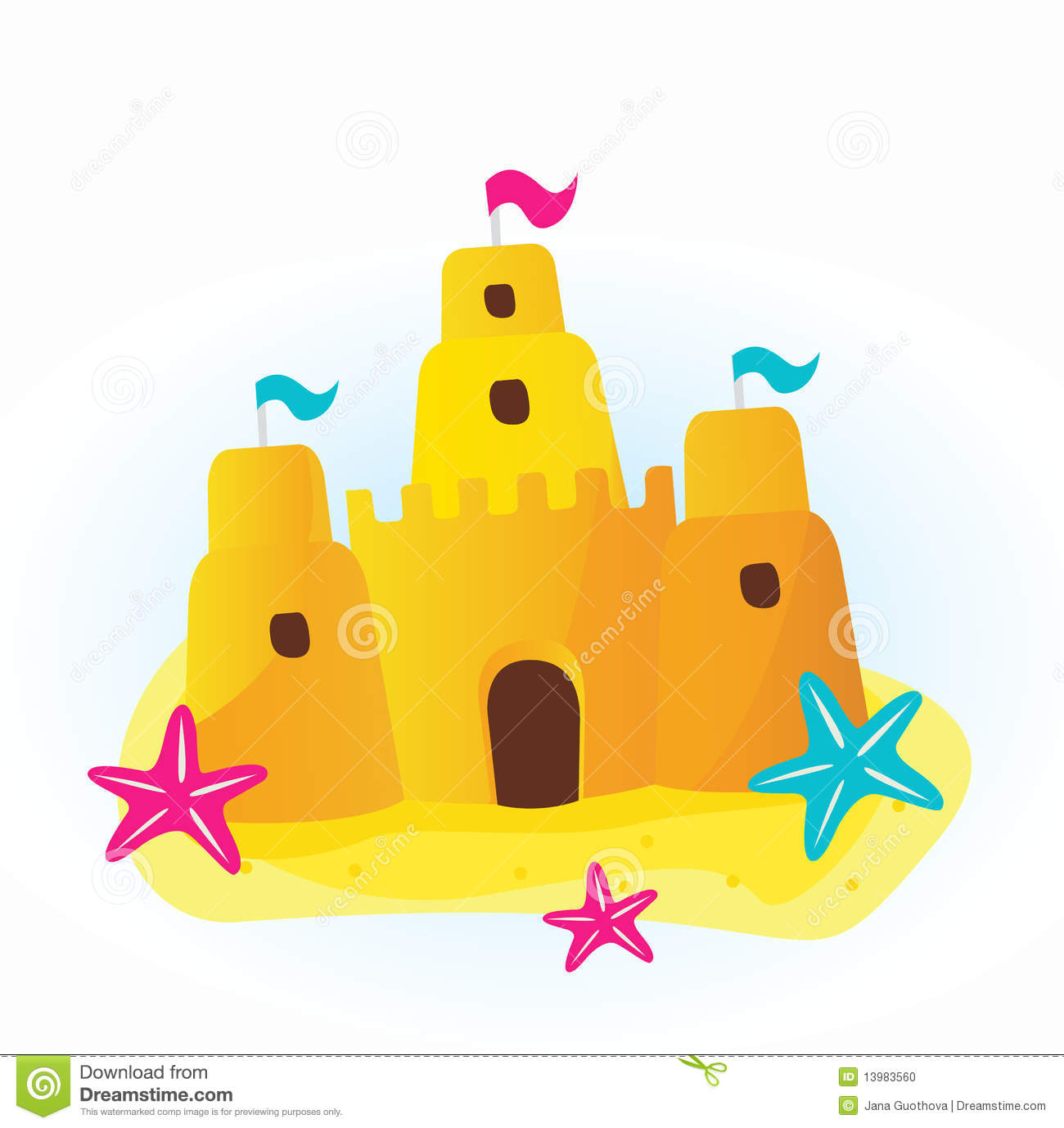 On White Background  Beautiful Sand Castle On The Beach  Cartoon Icon