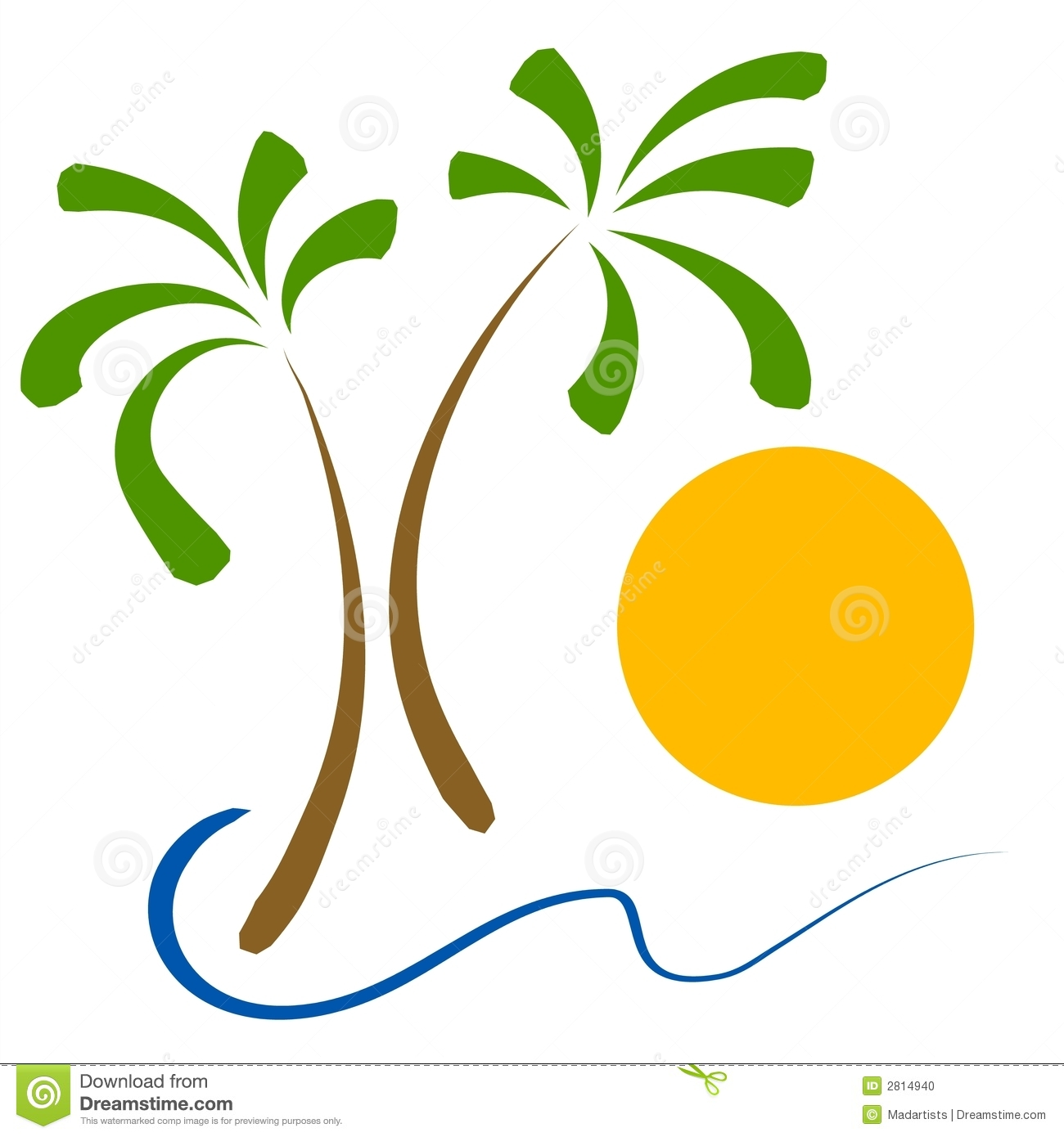 Simple Clip Art Illustration Of 2 Palm Trees Ocean Waves And A Sun