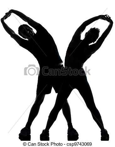 Stock Photo   One Couple Man Woman Exercising Workout Fitness   Stock