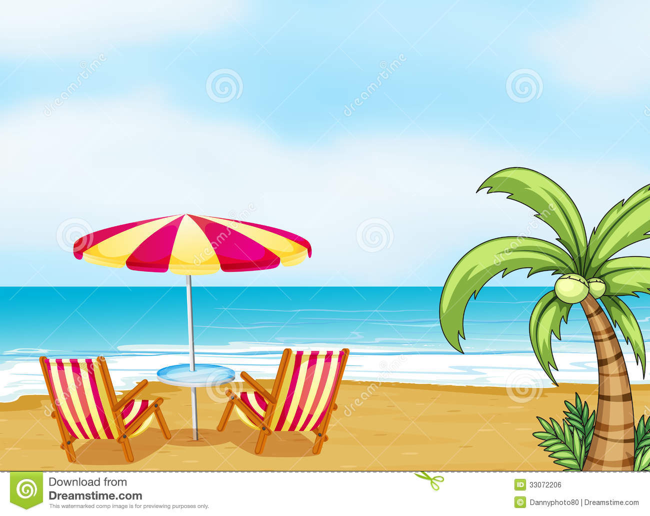 The Beach With An Umbrella And Chairs Royalty Free Stock Image   Image