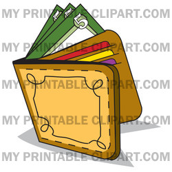 Cash And Credit Cards In A Leather Wallet Clipart Picture   Image
