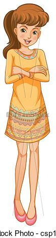 Clip Art Of A Woman Standing With A Smile   Illustration Of A Woman