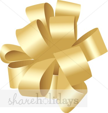 Gold Bow Clipart   Christmas Decoration Clipart
