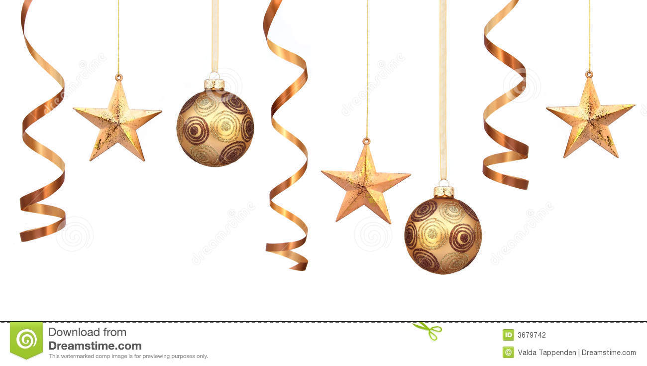 Gold christmas decorations stock photography image 3679742