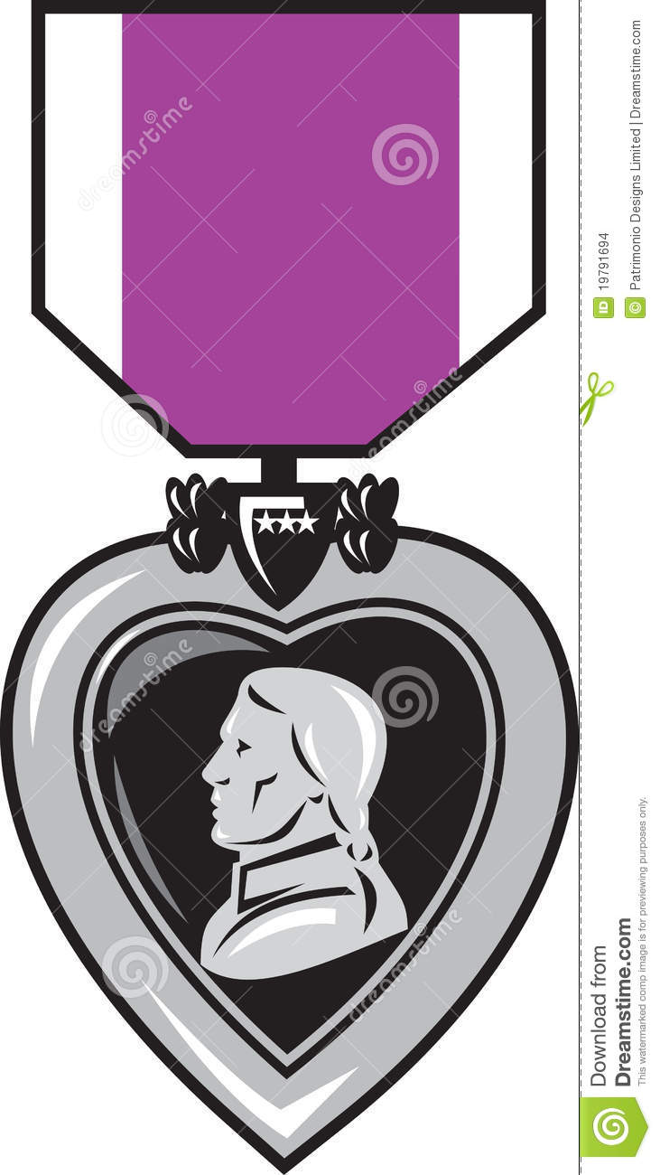 Illustration Of A Military Medal Of Bravery Honor And Valor Purple