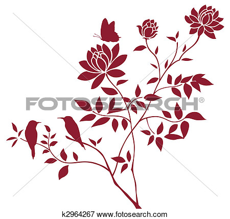 Illustration   Peony And Butterfly  Fotosearch   Search Eps Clipart