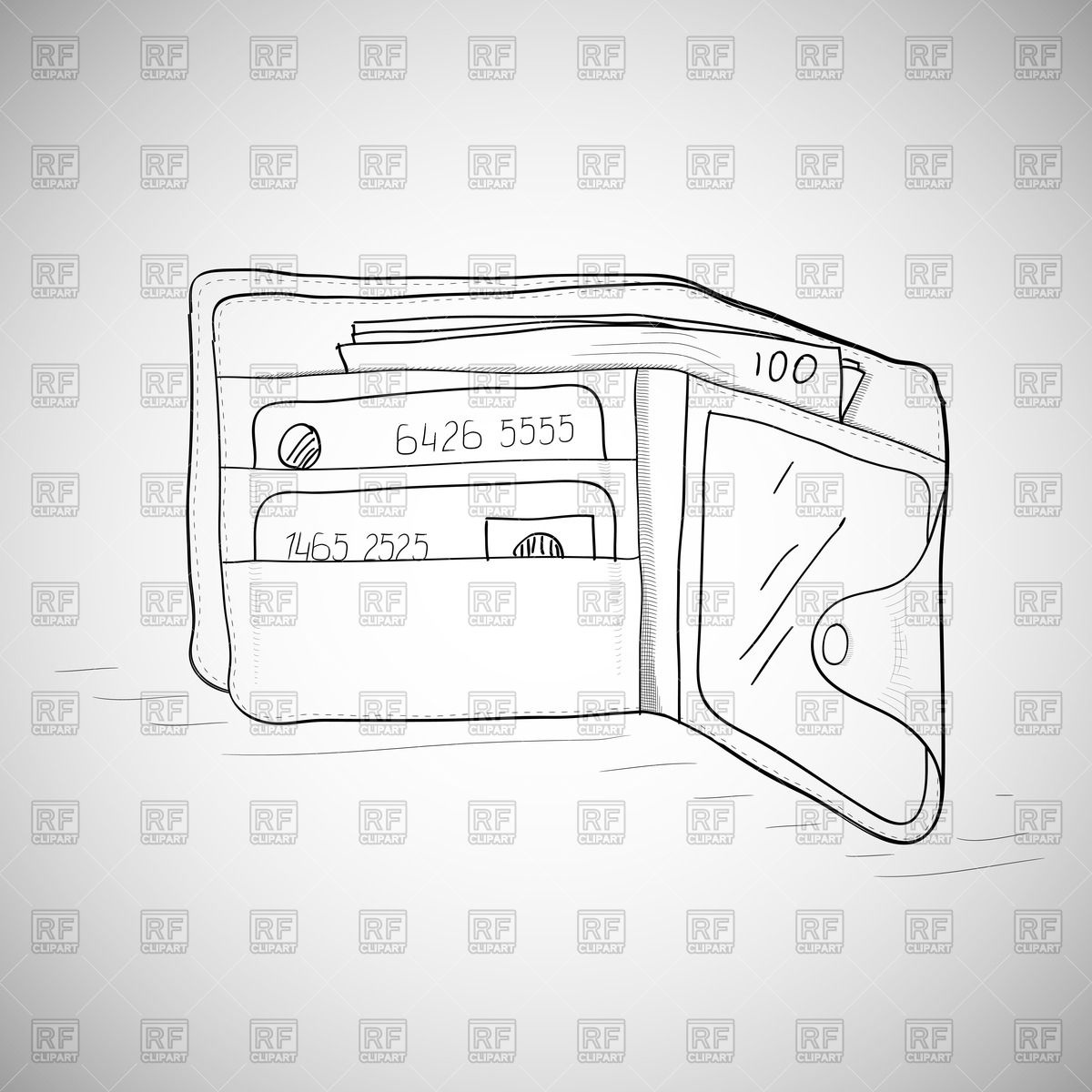 Leather Wallet With The Money And Credit Cards   Hand Drawing Sketch