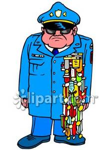 Military Man With Lots Of Medals   Royalty Free Clipart Picture