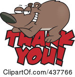 Rf Clip Art Illustration Of A Grateful Bear Resting On Thank You Text