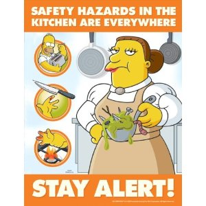Simpsons Food Safety Poster   Safety Hazards In The Kitchen Are