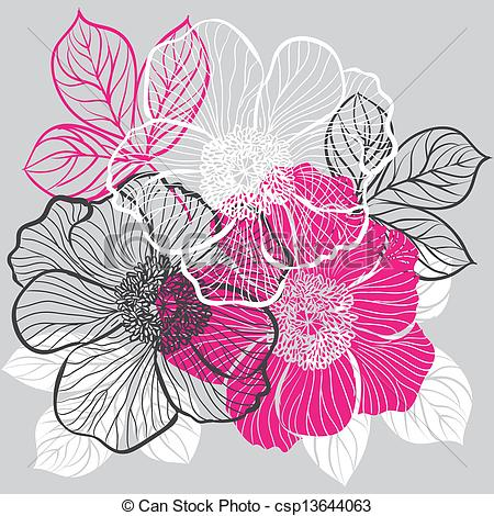 Vector   Floral Background With Flowers Of Peony   Stock Illustration
