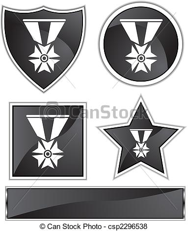 Vector Of Military Medal Icon Black   Military Medal Icon On A Web
