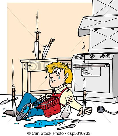 Vectors Of Kitchen Fall   A Man In A Commercial Kitchen Fallen To The