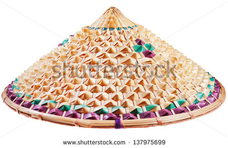 Asian Conical Straw Hat Isolated On White Background   Stock Photo