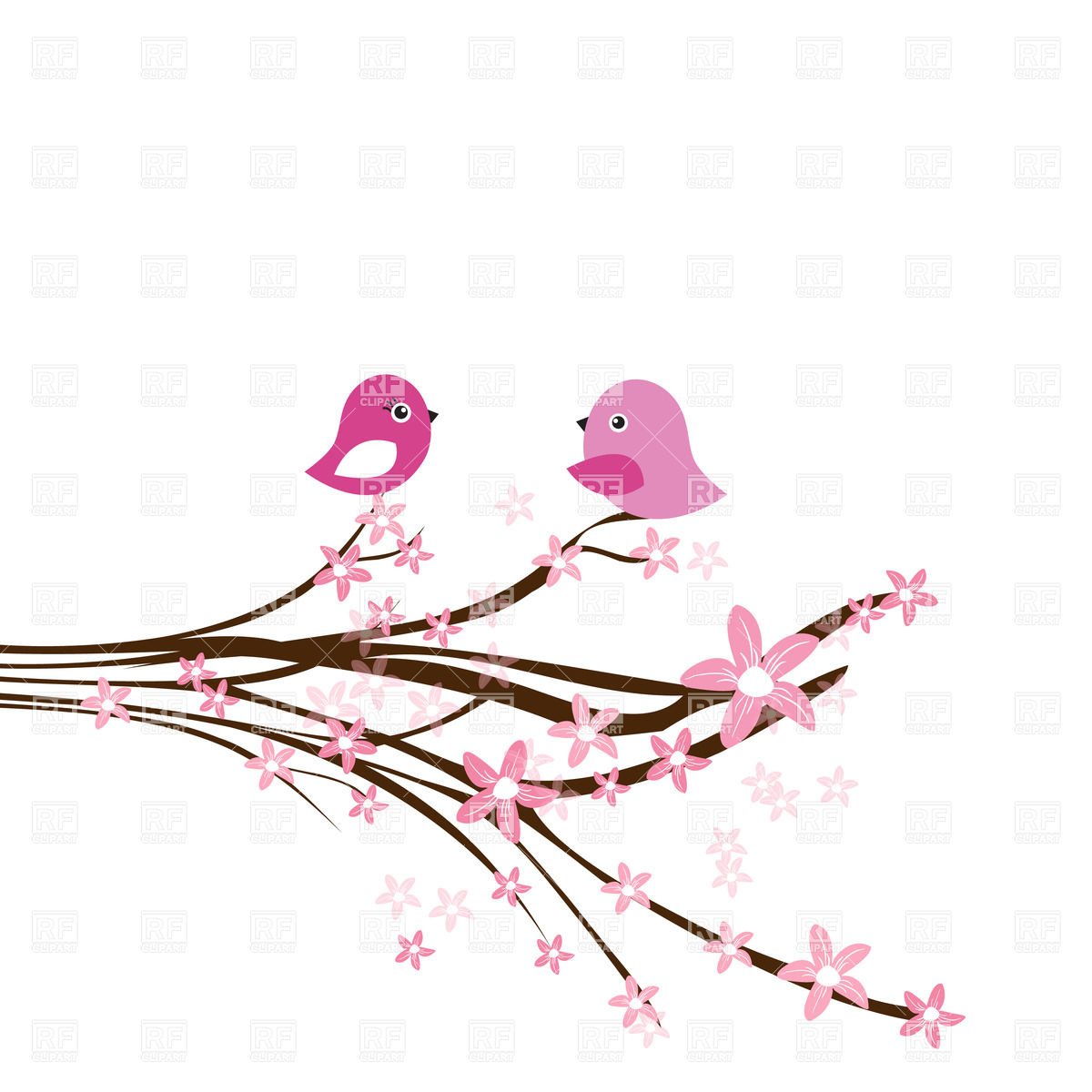 Cherry Blossom Branch With Two Cute Pink Birds Download Royalty Free
