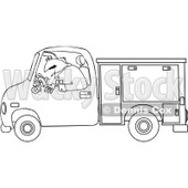 Clipart Outlined Worker Driving A Utility Truck   Royalty Free Vector