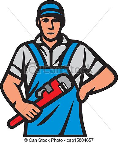 Clipart Vector Of Plumber Holding A Wrench Plumber Holding Monkey