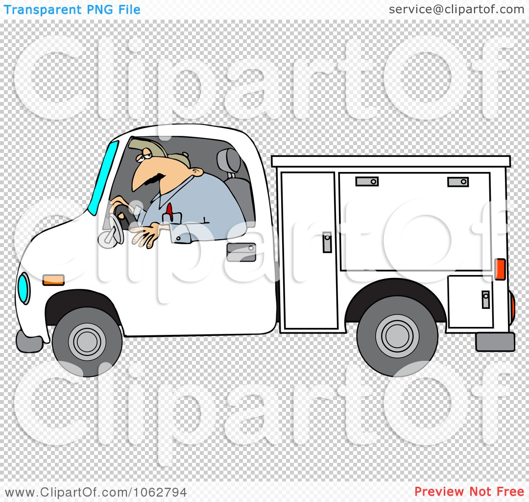 Clipart Worker Driving A Utility Truck   Royalty Free Vector