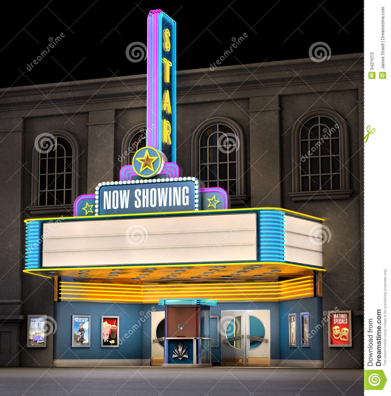 Exterior Night Shot Of A Retro Illuminated Neon Movie Theater