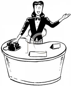 Greeting People At A Front Desk   Royalty Free Clipart Picture