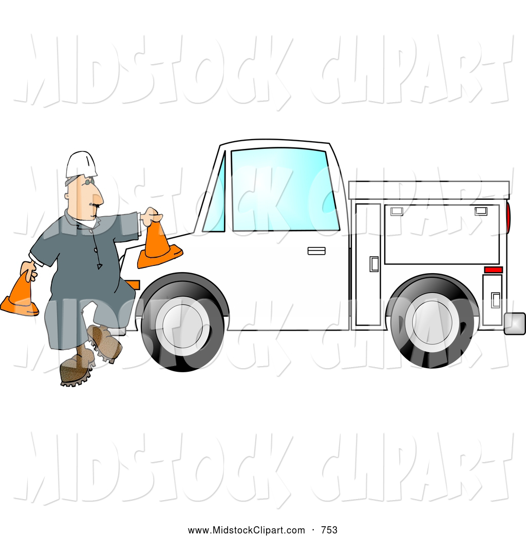 Of A White Worker Putting Out Cones Around His Utility Truck By Djart
