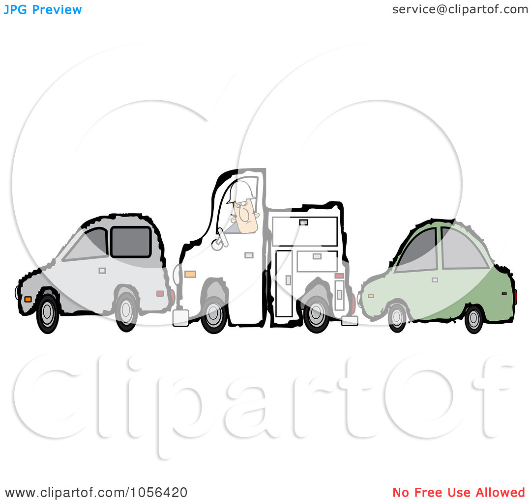 Of A Worker Man And His Utility Truck Stuck Between Two Cars By Djart