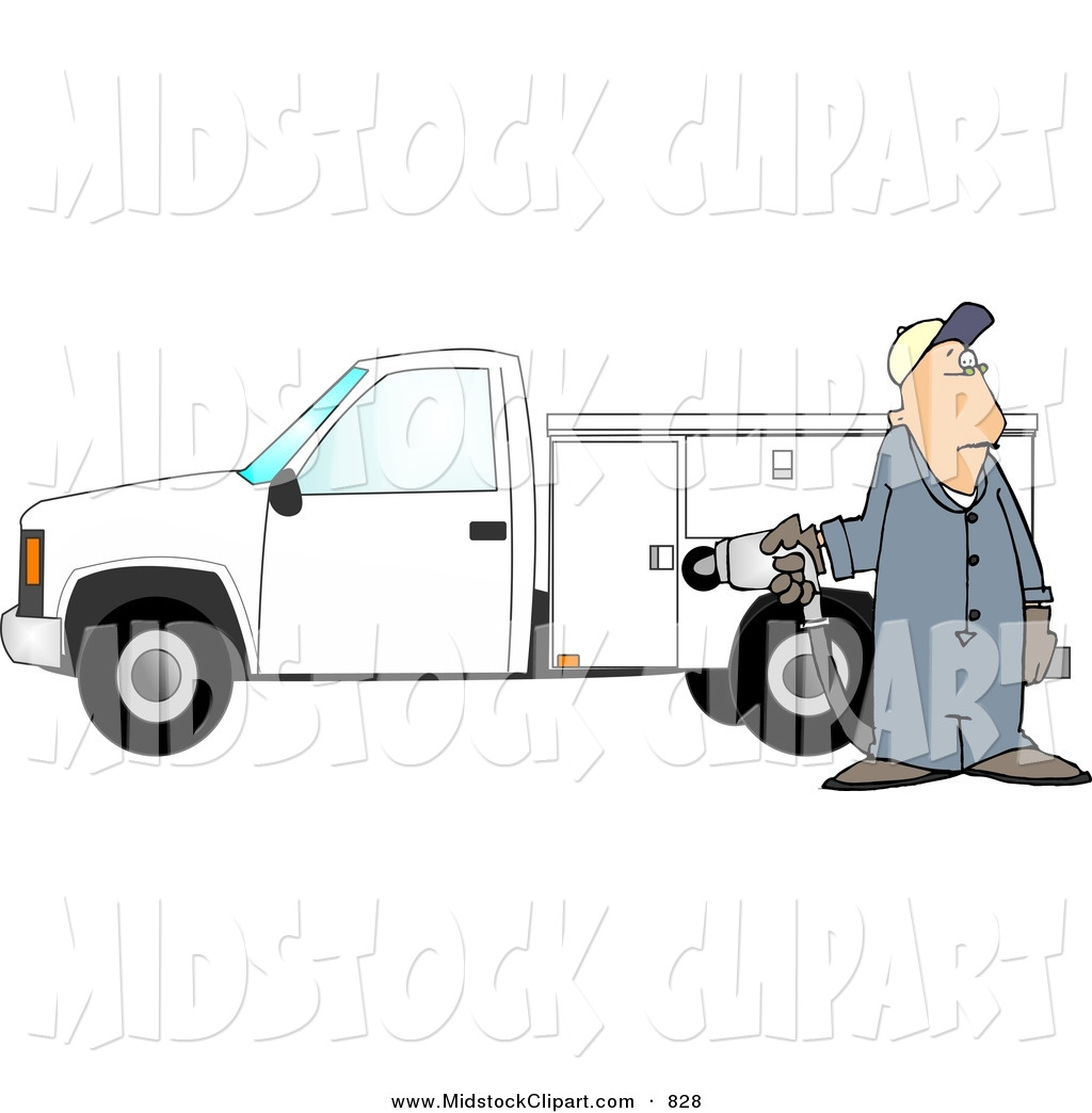 Of A Worker Man Pumping Gas Into A Commercial Utility Truck By Djart