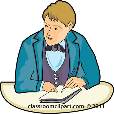 People   Student With Bowtie At Desk    Classroom Clipart