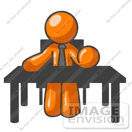 Royalty Free Clipart Of An Orange Guy Character Bossing People Around