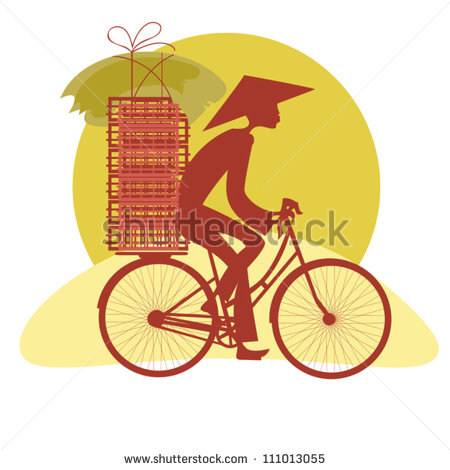 Silhouette Vietnamese Who Carry The Goods On His Bike   Stock Vector